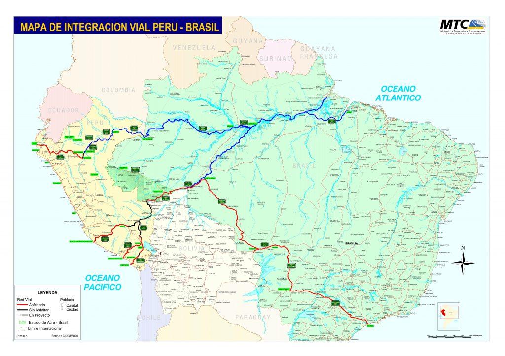 Mapa de integração Brasil-Peru (MTC, Peru). Clique para ampliar.