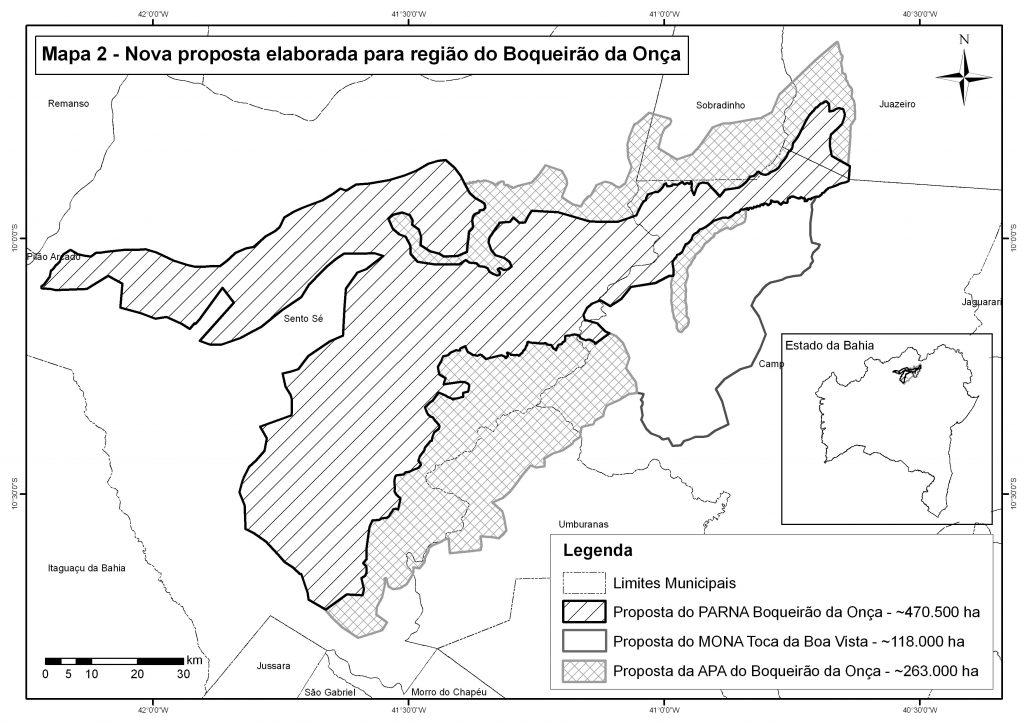 Mapa inédito mostra o novo desenho proposto pelo governo federal para a área do Boqueirão da Onça. Clique na imagem para baixar em alta resolução. Fonte: Cortesia CRAD