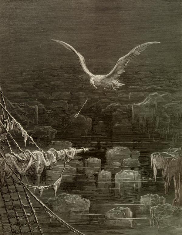"""""""Eu matei o albatroz"""" ilustrado por Gustave Doré."""