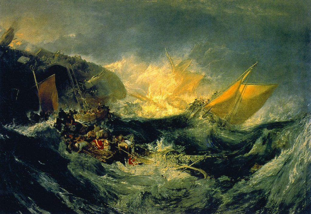 """""""O naufrágio do Minotauro"""" de William Turner, um dos maiores artistas da humanidade, pintado em 1810. Ao que parece, naufrágios eram comuns na época. Fonte: Wikimedia, Calouste Gulbenkian Foundation, Lisboa."""