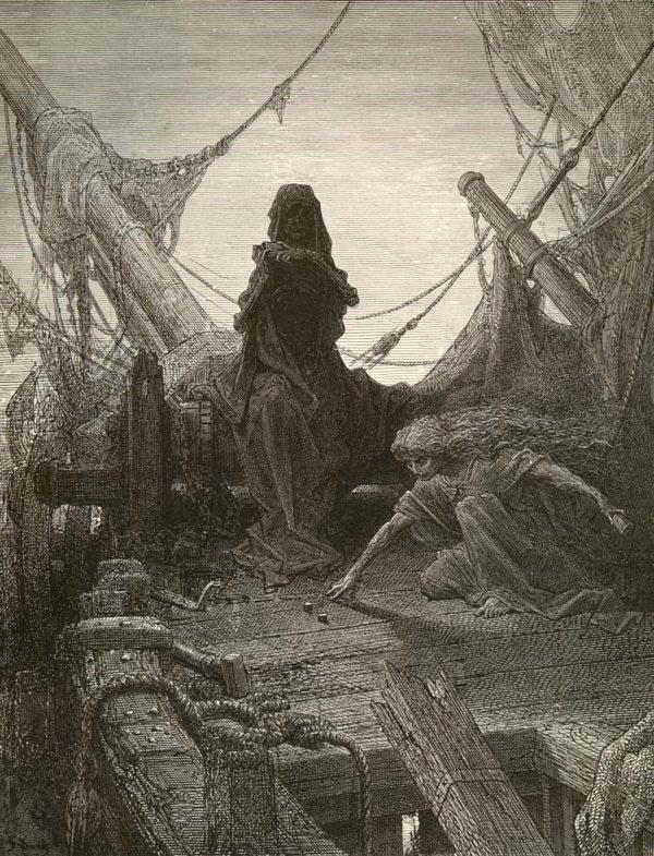 A morte e a vida-em-morte disputam os marinheiros. Ilustração de Gustave Doré.