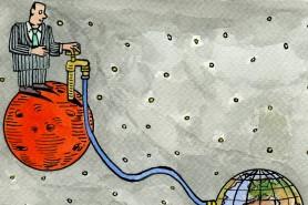 Pense o que mudaria se nós valorizássemos a água terrestre tanto quanto valorizamos a possibilidade de água em Marte. Ilustração: Andrzej Krauze