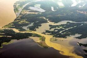 Floresta Amazonica, vista do alto, num país que é só quase água. https://www.flickr.com/photos/lubasi/17066377401/