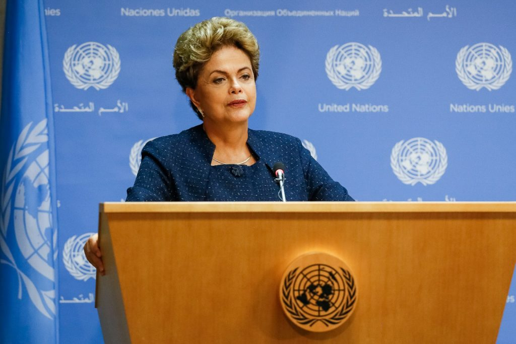 Presidente Dilma Rousseff durante coletiva de imprensa sobre a INDC brasileira, na ONU. Foto: Roberto Stuckert Filho/PR