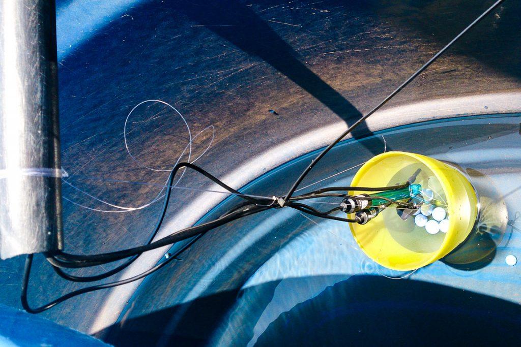As ponteiras dos sensores dentro das caixas da água. Foto: InfoAmazonia