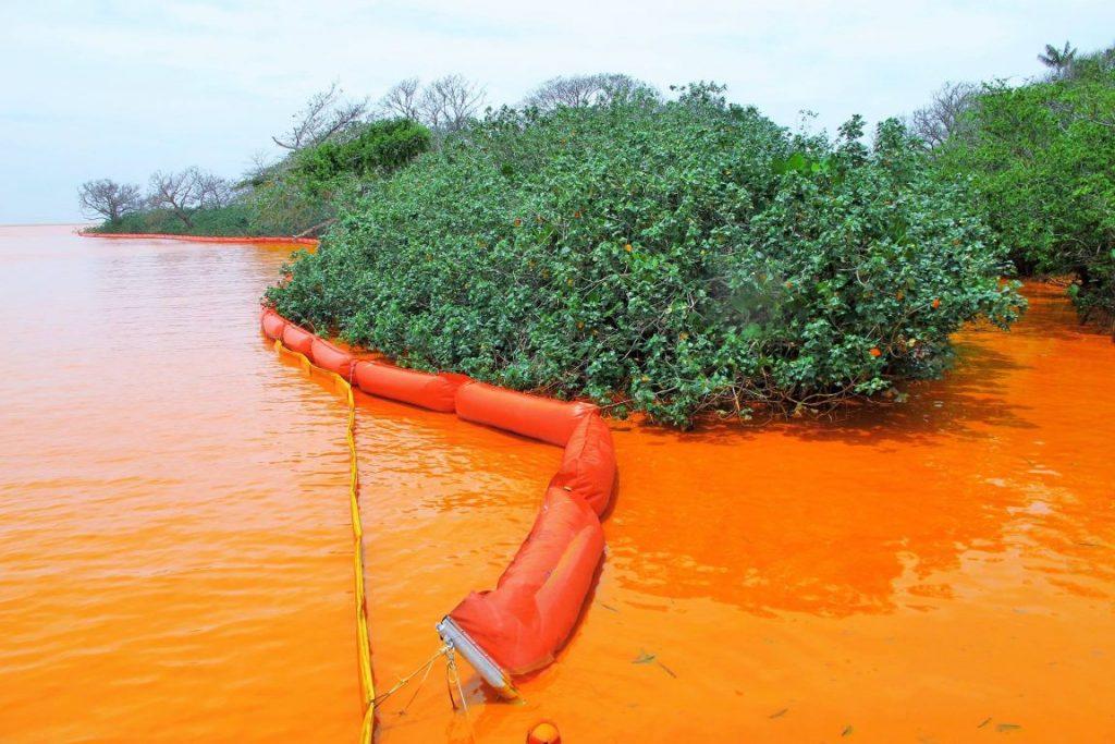 Barreiras flutuantes colocadas na foz do Doce como medida emergencial por parte da Samarco não surtiram efeito, observa o biólogo. Foto: Foto: João Luiz Gasparini.