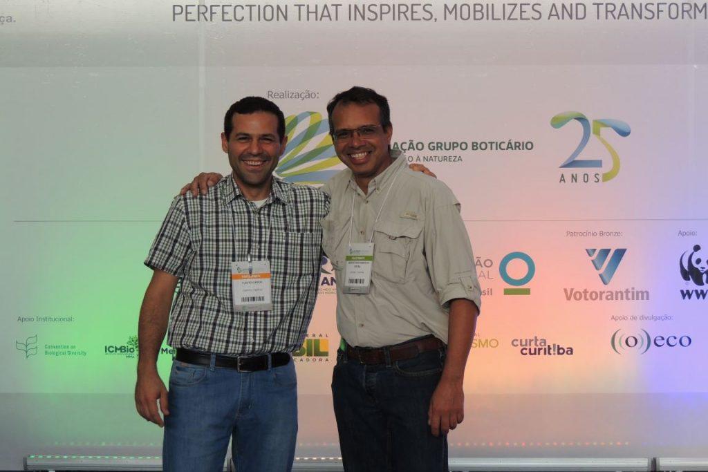 Representantes da CNRPPNs, Flávio Ojidos e Laércio Machado de Souza participam do VIII Congresso Brasileiro de Unidades de Conservação, evento realizado em setembro do ano passado. Foto: Arquivo Pessoal/Ojidos.