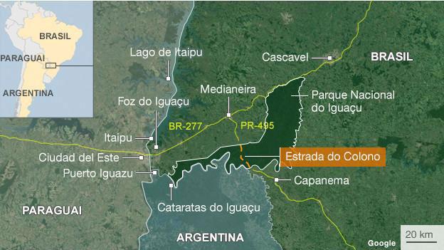 Localização da região do Parque Nacional do Iguaçu e da antiga Estrada do Colono.