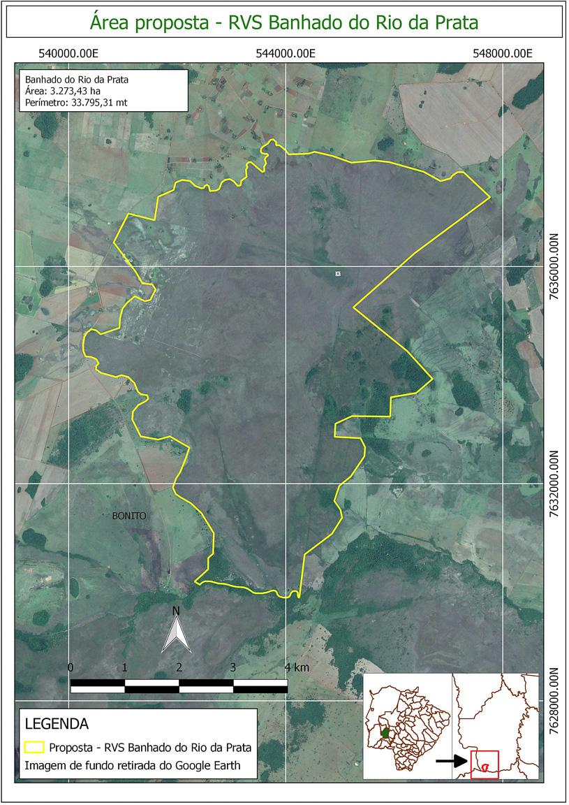 A proposta da criação da Refúgio de Vida Selvagem do Banhado do Rio da Prata, iniciativa da Prefeitura de Bonito, protege apenas a área de banhado, sem atingir lavouras e pastagens das propriedades. Fonte: Prefeitura de Bonito