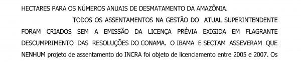 Trecho da ação judicial movida pelo MPF contra o Incra em 2007. Foto: MPF