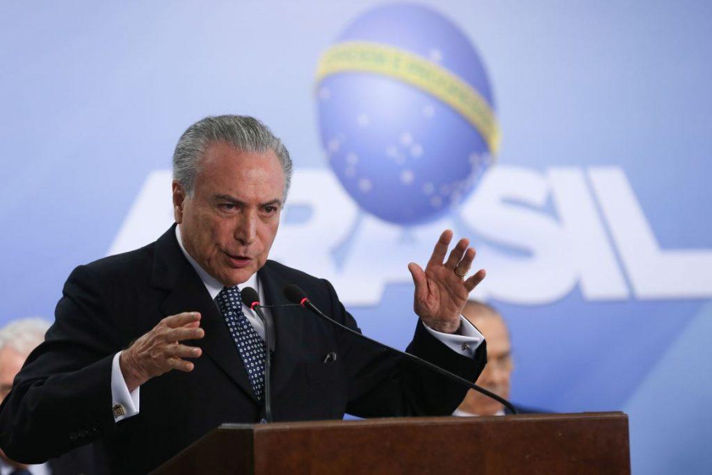 O presidente interino, Michel Temer, em evento em Brasília. Foto: José Cruz/Agência Brasil.