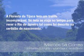 """""""A Floresta da Tijuca tem um trunfo incomparável. Só nela se viaja no tempo para rever o Rio de Janeiro tal como foi descrito na certidão de nascimento."""" - Marcos Sá Correa, jornalista, fotógrafo e fundador de ((o))eco"""