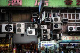 Aparelhos de ar-condicionado em Hong Kong. Foto: Niall Kennedy/Creative Commons
