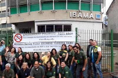 Servidores protestam contra loteamento político no Ibama. Foto: Asibama/Divulgação.