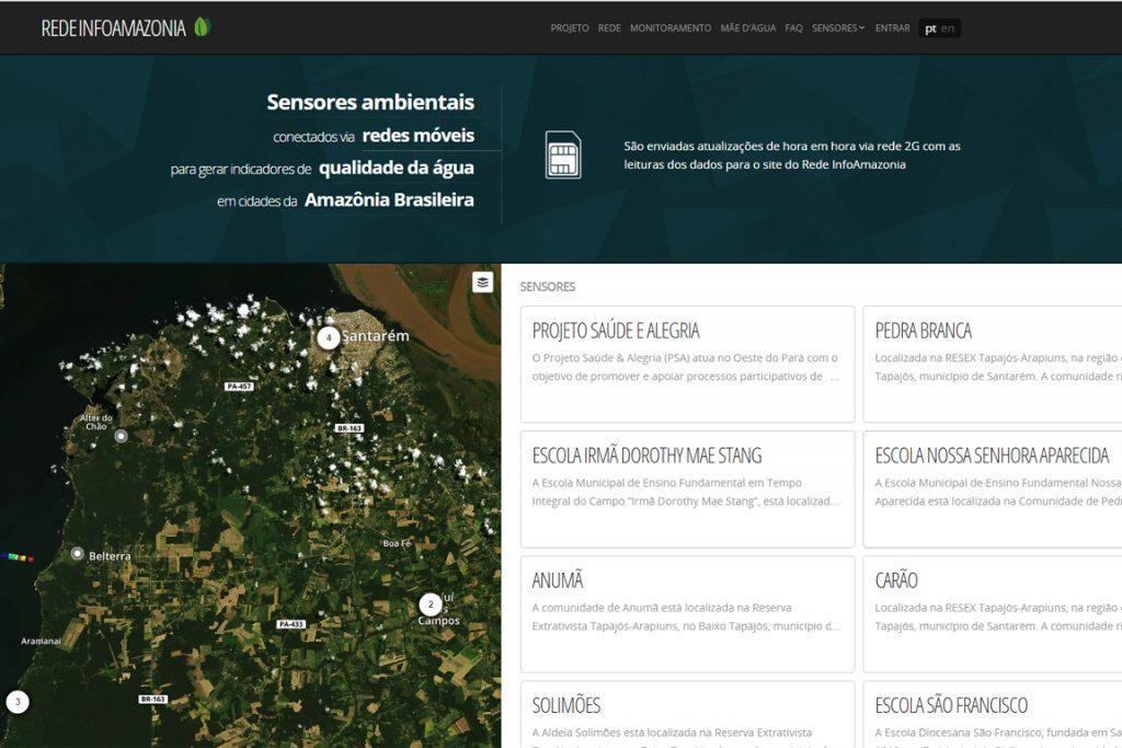 Site do projeto Rede InfoAmazonia com dados recebidos em tempo real de comunidades e residências do rio Tapajós