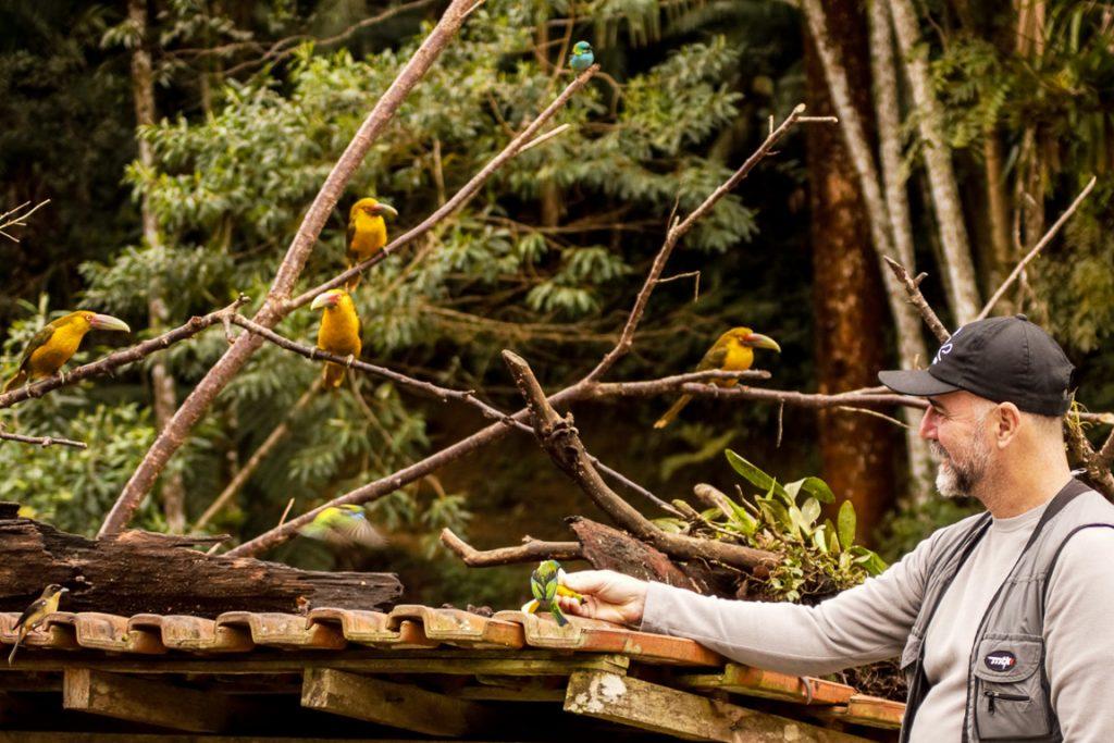 O famoso comedouro de aves da Trilha dos Tucanos. Crianças de todas as idades, como a da foto, saem deste passeio com um sorriso de orelha a orelha. Fotos: Fabio Olmos