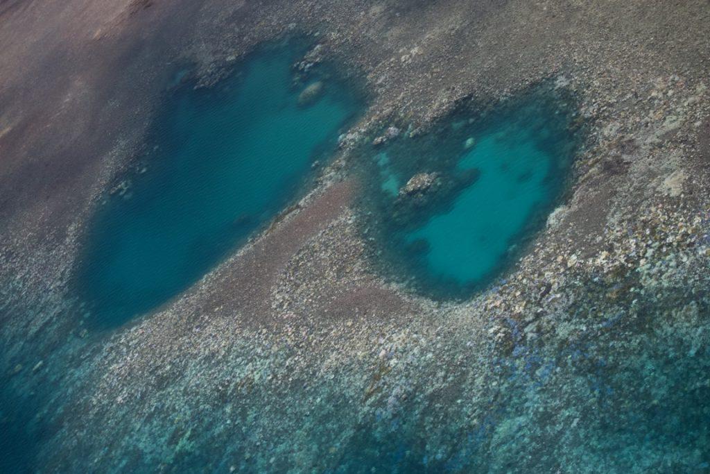 Corais brancos na Grande Barreira, em foto aérea. Foto: Terry Hughes/Nature.