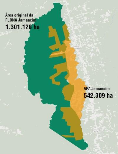 A APA de Jamanxim, de 542 mil hectares, foi formada pela parte mais desmatada da Floresta Nacional de Jamanxim (304 mil hectares) e mais 238 mil hectares de uma área onde não havia nenhuma unidade de conservação. Arte: Paulo André Vieira.