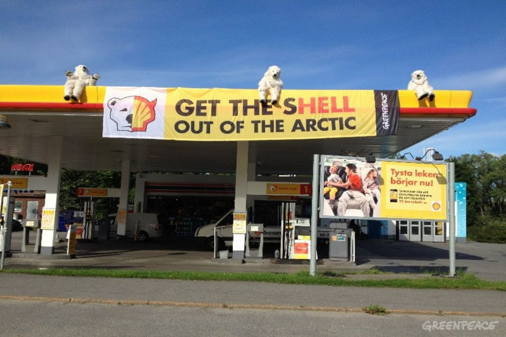 Protesto do Greenpeace na Suécia contra as ambições árticas da Shell. Foto: Greenpeace.