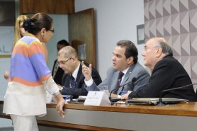 Da esquerda para a direita: deputada Janete Capiberibe (PSB-AP), em pé, relator José Priante (PMDB-PA) e o presidente da comissão mista, senador Flexa Ribeiro (PSDB-PA), na votação do relatório final, na terça. Foto: Waldemir Barreto/Agência Senado.