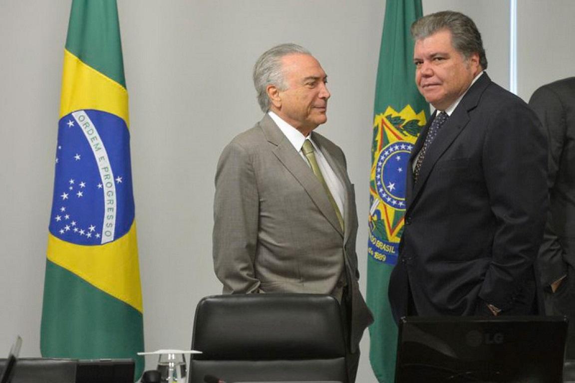 Presidente Michel Temer e o ministro do Meio Ambiente Sarney Filho em cerimônia oficial. Crédito: SECOM.