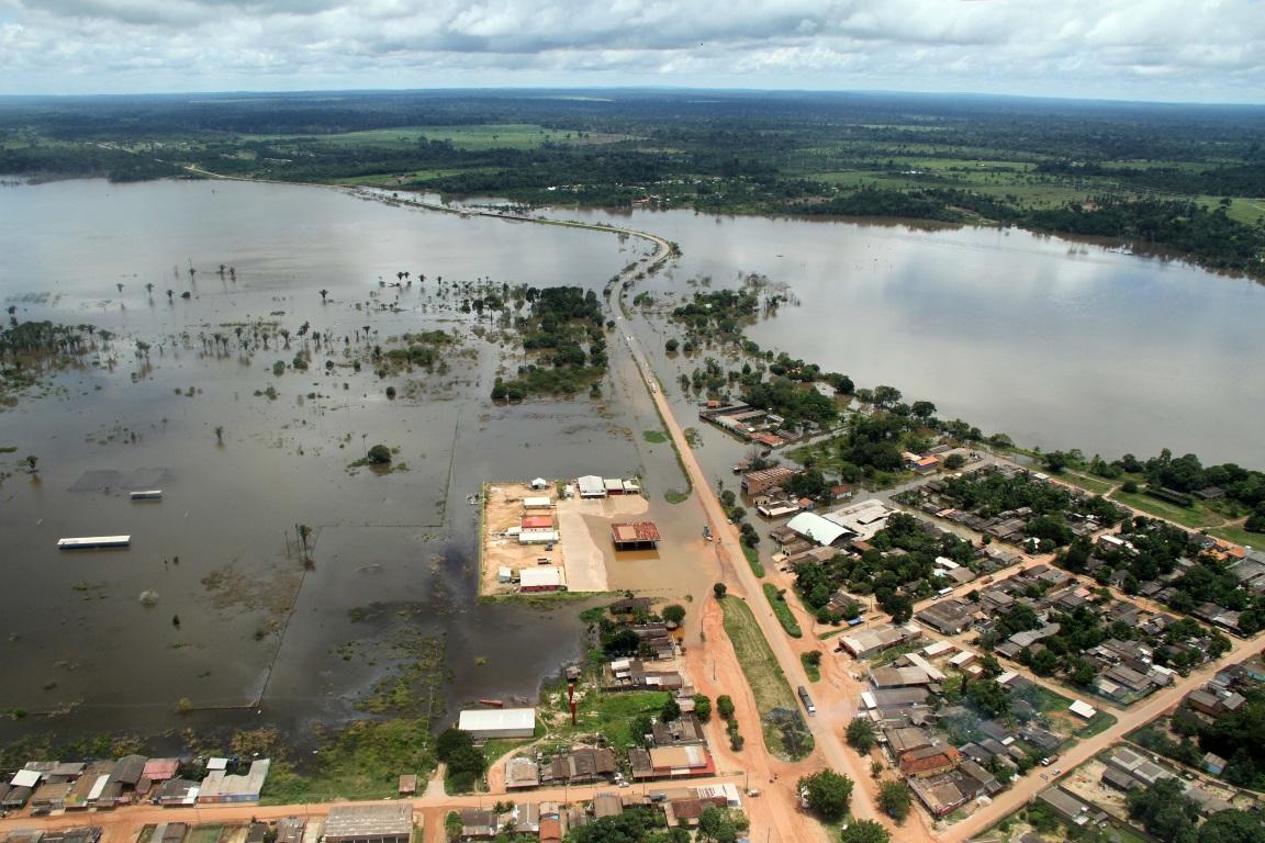 Vista aérea da maior cheia já registrada no rio Madeira, em 2014. Foto: Secom/Governo de Rondônia.