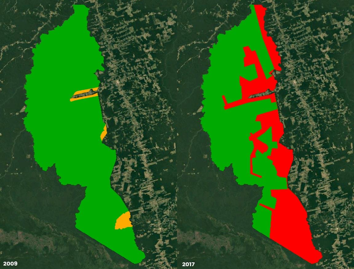 Atual proposta para retirar 486 mil hectares da Floresta Nacional (à direita) é 13 vezes maior que o recomendado em 2009 pelo próprio ICMBio. Na ocasião, instituto admitia transformar 35 mil hectares em APA (à esquerda). Arte: Paulo André Vieira.