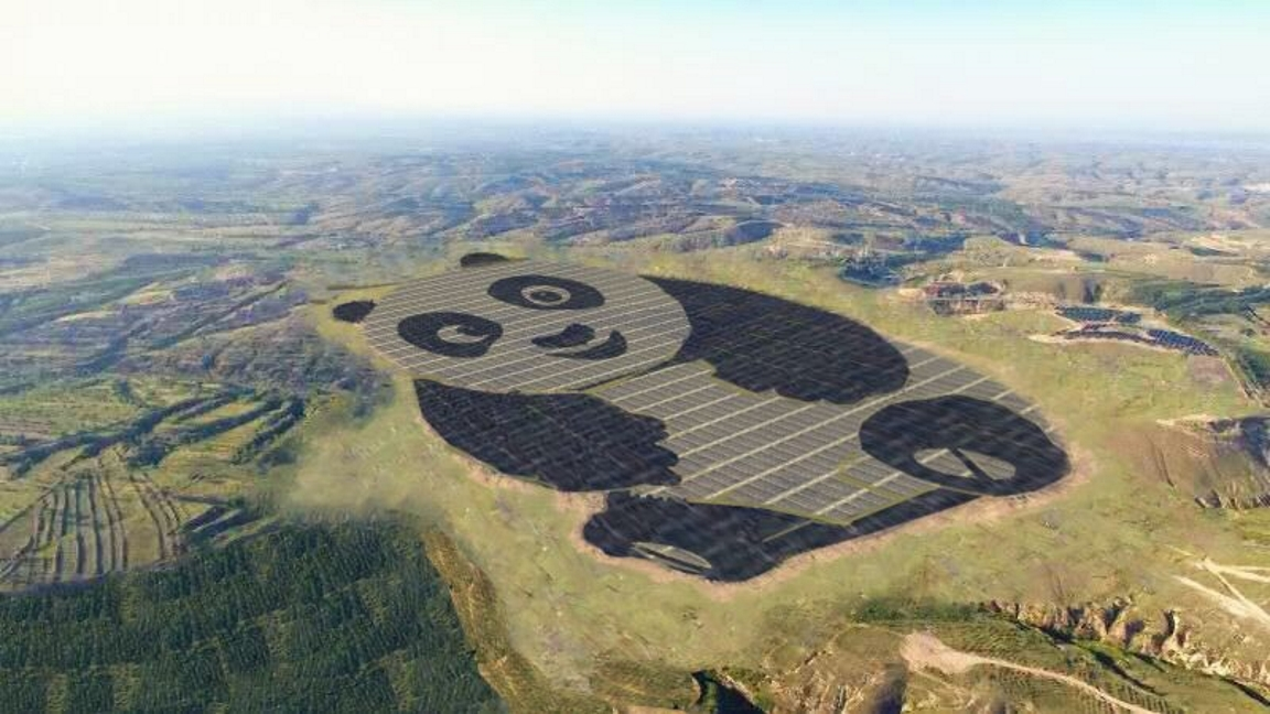 A China acaba de inaugurar uma estação de produção de energia solar com formato de Panda gigante. Foto: CMNE/Divulgação.