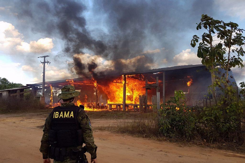 Fogo em madeireira que atuava ilegalmente na Reserva Biológica do Gurupi e nas Terras Indígenas Caru e Alto Turiaçu, no Maranhão. Foto: Felipe Werneck - Ascom/Ibama