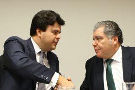 Ministros de Minas e Energia, Fernando Coelho Filho, e do Meio Ambiente, Sarney Filho, em coletiva sobre a Renca. Foto: Saulo Cruz/ Ministério de Minas e Energia.