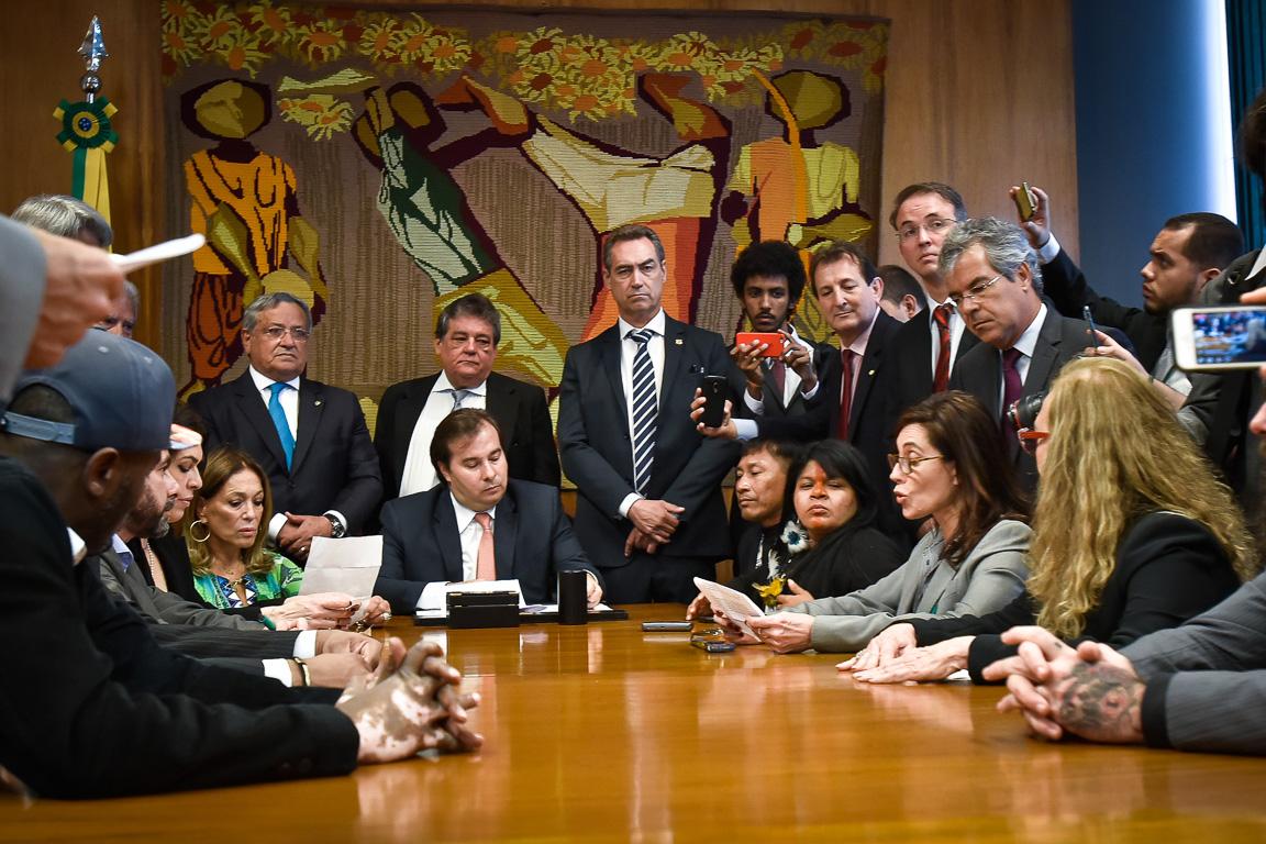 A atriz Christiane Torloni fala durante reunião com Rodrigo Maia em seu gabinete. Foto: Cristiano Costa/Greenpeace