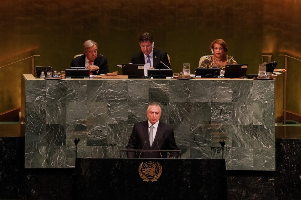 Como tradição, presidente brasileiro discursa na Abertura do Debate Geral da 72ª Sessão da Assembleia Geral da ONU. Foto: Beto Barata/PR.