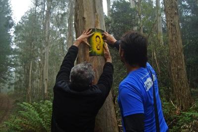 Participantes da oficina, entre eles voluntários, fazem a sinalização a Flona. Foto: Jeremias Freitas.