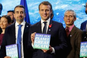 O presidente Emmanuel Macron durante o One Planet Summit.