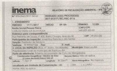 Superintendente do Ibama de Sergipe é acusado de desmatar área de Caatinga