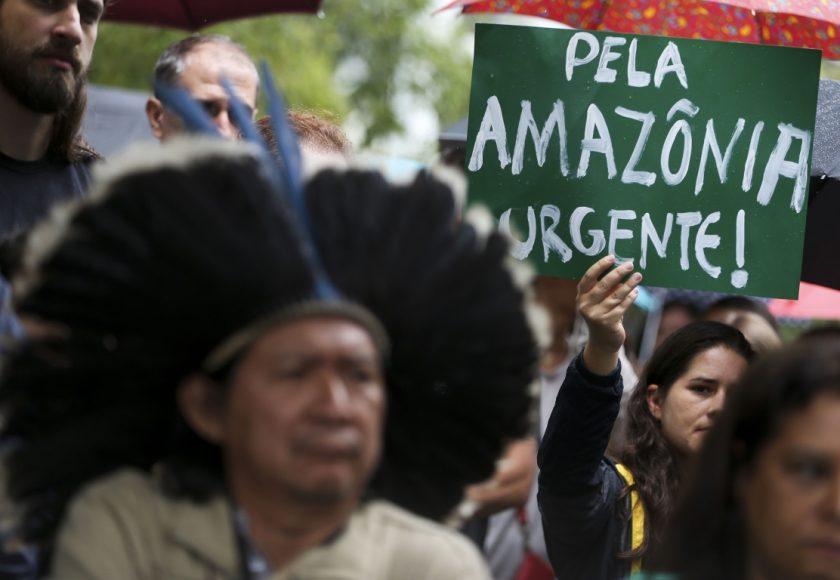 Manifestantes em ato em defesa do meio ambiente. Foto: Marcelo Camargo/Agência Brasil.