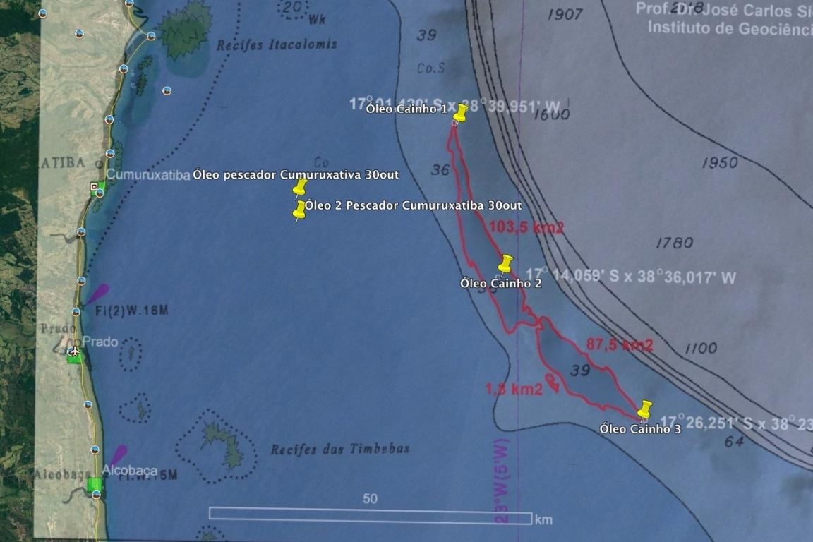 """""""É óleo"""" afirmam pescadores e pesquisadores sobre a mancha no oceano que segue em direção à Bahia"""
