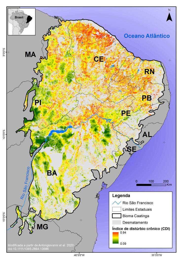 Mapa da degradação dos fragmentos de Caatinga (Marina Antongiovanni/UFRN)