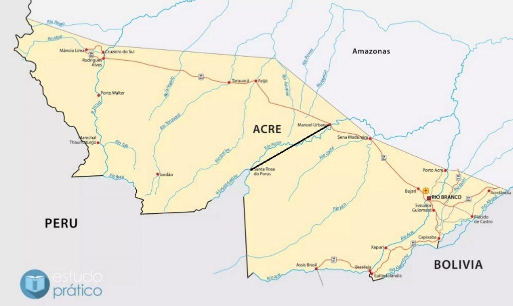 Em preto no mapa, traçado que separa Santa Rosa do Purus de Manoel Urbana, uma das regiões mais preservadas da Amazônia. Imagem: Divulgação.