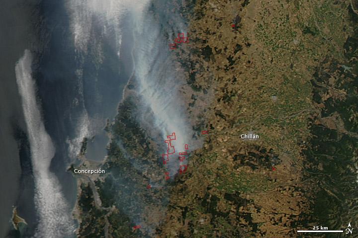 Imagem do satélite Aqua, da NASA, feita no dia 02 de janeiro sobre a região central do Chile perto das cidades de Concepción e Chillán (fonte: Earth Observatory, NASA)
