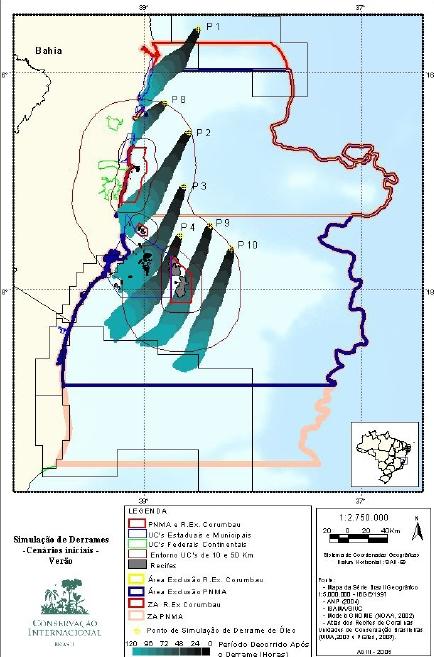 Em 2005, a Conservação Internacional divulgou estudo com simulações dos impactos que seriam causados por vazamentos de petróleo em Abrolhos. Clique para ampliar (fonte: CI)