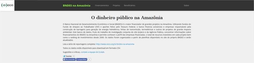 Plataforma acompanha investimentos do BNDES na Amazônia